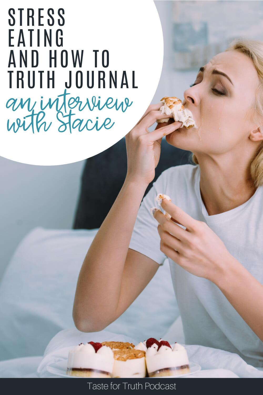 woman stress-eating cupcakes | stop stress eating